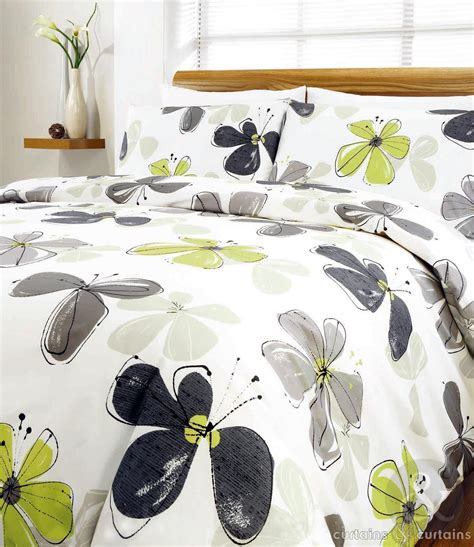 Green And Black Duvet Cover by Lime Green Fresca Contemporary Floral Printed Duvet Cover
