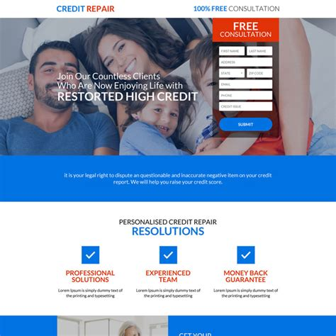 Credit Repair Website Templates credit repair business service responsive landing page