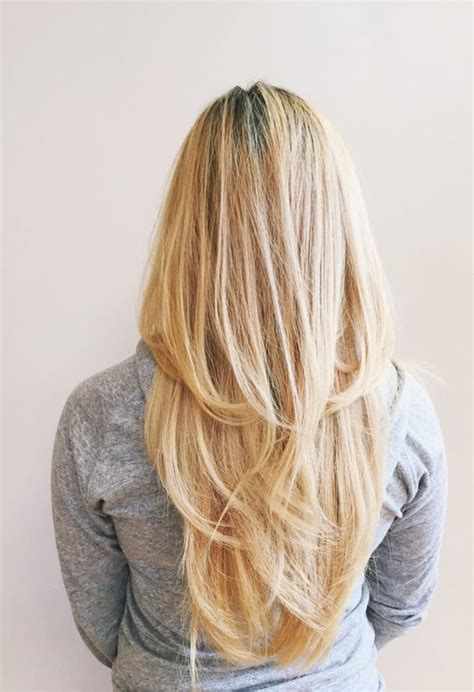 images of blonde layered haircuts from the back picture of layered long beige blonde straight hair in a v