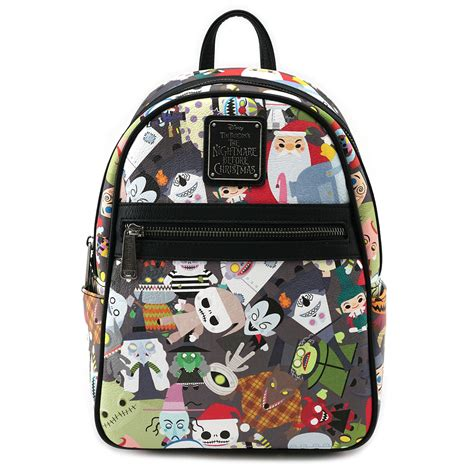 loungefly x the nightmare before chibi print faux leather mini backpack backpacks bags