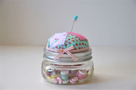 Patchwork Pincushion - patchwork pincushion jar floral medium storage