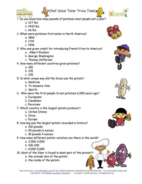 questions quiz bee nutrition month potato trivia question game sheet