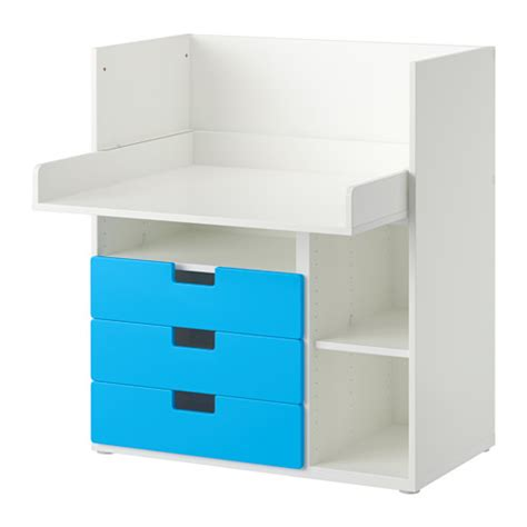 stuva desk with 3 drawers white blue ikea