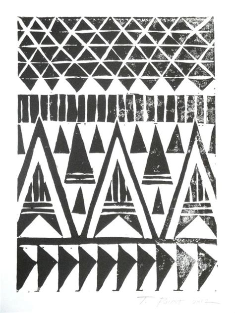 triangle pattern tribal black and white tribal triangles block print by toni point
