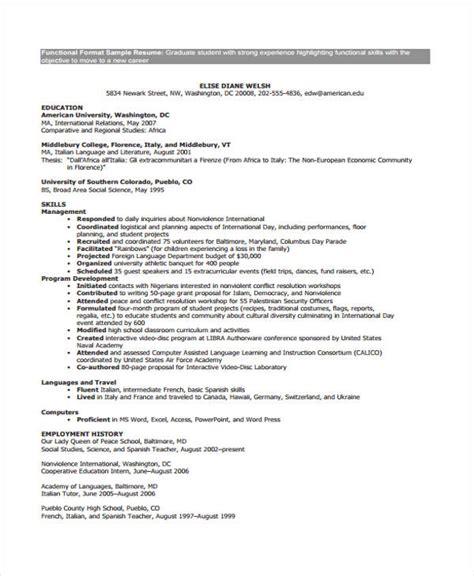 9 functional curriculum vitae templates pdf doc free