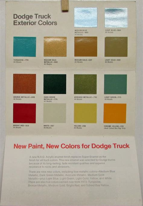 dodge truck colors 1974 dodge truck color and upholstery selector sales