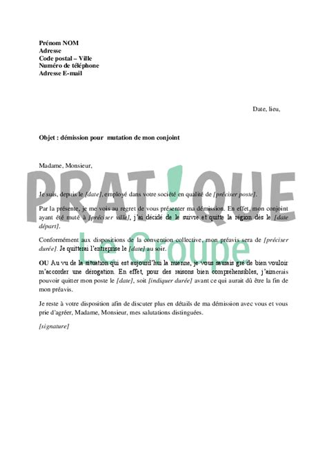 Modã Le De Lettre De Dã Mission Avec Prã Avis Lettre De D 233 Mission Suite 224 La Mutation De Conjoint Pratique Fr