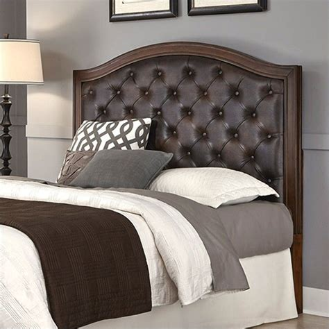 home styles duet upholstered headboard tufted panel headboard with brown leather in cherry 5545