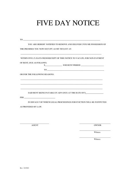 8 Best Images Of 5 Day Eviction Notice Template 30 Day Eviction Notice Template 5 Day 5 Day Notice Illinois Template
