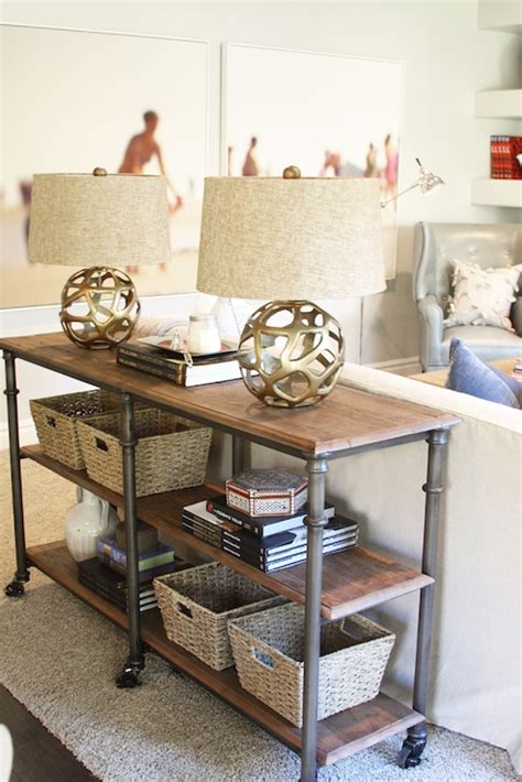 Ideas For Console Table With Baskets Design Arteriors Ennis Antique Brass Sphere L Transitional Living Room Home