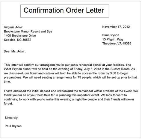 order confirmation letter samples printable word