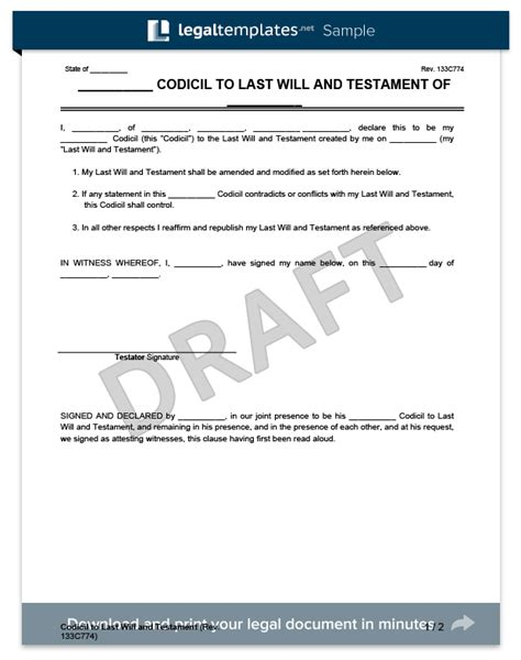 codicil template free last will and testament legalforms org best photos of