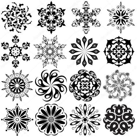 ensemble de tatouage motif rond 16 mandalas en noir