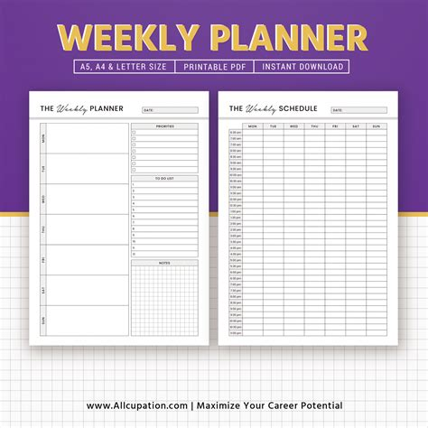 printable weekly planner notepad printable weekly planner weekly schedule weekly