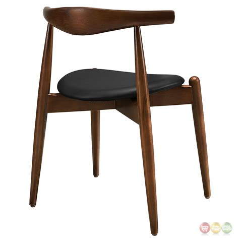 Solid Wood Dining Chairs Stalwart Contemporary Solid Wood Dining Side Chair With Vinyl Cushion Walnut Black