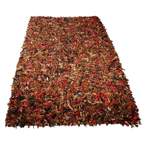 Leather Woven Rug by Fantastic Woven Leather Sheared Rug From 1960 S At 1stdibs