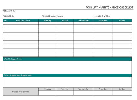 forklift maintenance checklist format word pdf report