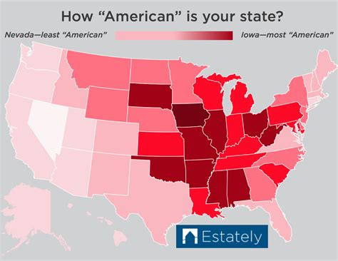 american state map which u s states are the most american ranked 1 50