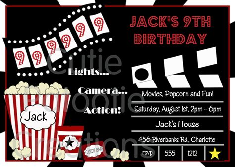 printable birthday invitations movie theme free movie birthday invitation movie night party invitations