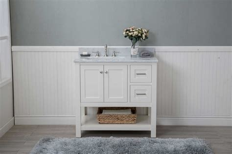 white shaker 36 quot bathroom vanity open shelf w marble top