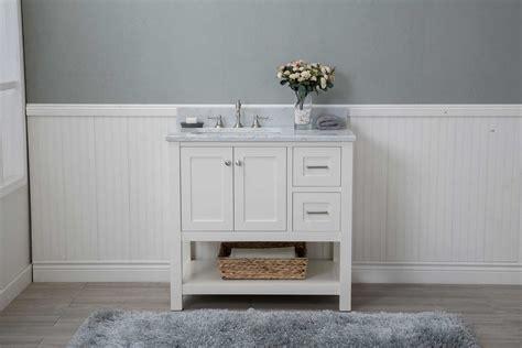 White Shaker 36 Quot Bathroom Vanity Open Shelf W Marble Top White Shaker Bathroom Vanity