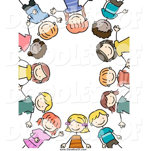 doodle free with friends vector clipart of a border of happy doodled by bnp
