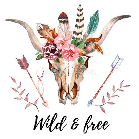 watercolor boho chic image flowers feathers animal
