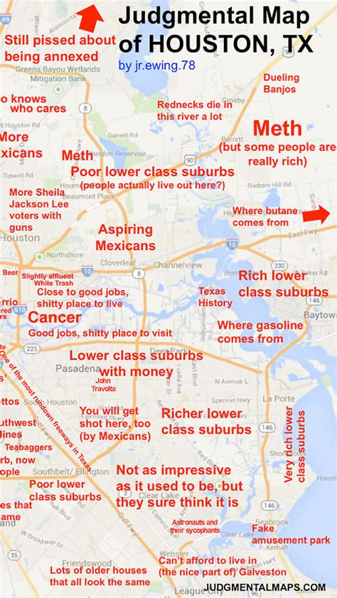 houston judgmental map labeled map of houston shows snide comments you can