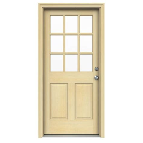 Pre Hung Exterior Doors Door 32 In X 80 In Door Collection 9 Lite Prefinished Antique Mahogany Prehung