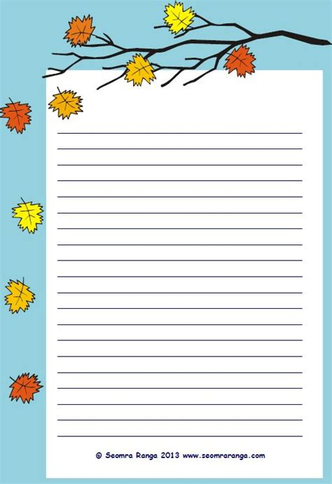 lined paper with leaf border autumn lined page 01 seomra ranga