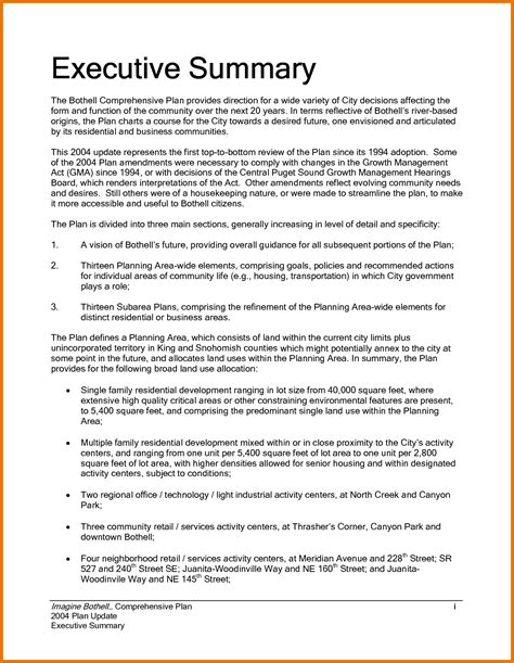 Executive Template 7 executive summary word template itinerary template sle