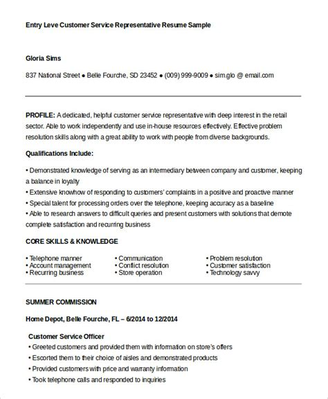 Entry Level Customer Service Resume Sles Free Customer Service Representative Resume 9 Free Sle Exle Format Free Premium Templates