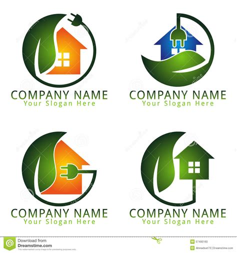 energy electric home care logo concept stock