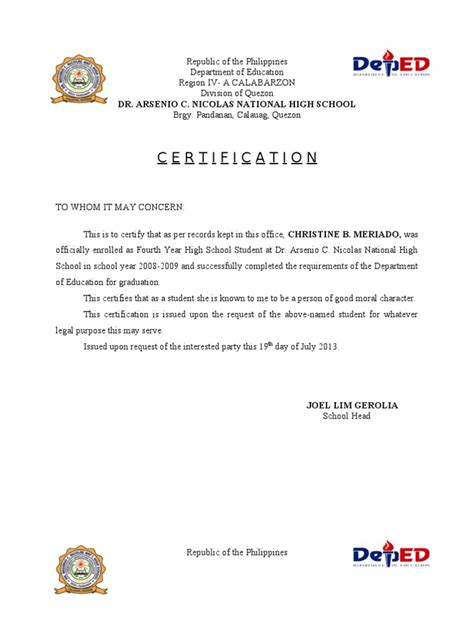 Sle Of Moral Character Letter For School Certificate Of Moral High Schools