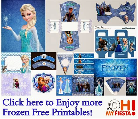 free frozen printable party decorations frozen free printable kit with masks tiaras and more