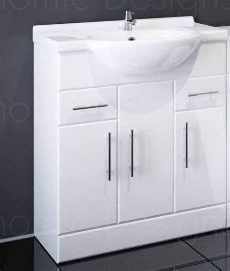 750mm Vanity Units For Bathroom 750mm Bathroom Vanity Unit In White With Basin