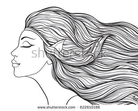 coloring pages of girl with long hair young beautiful girl elven ears long stock vector