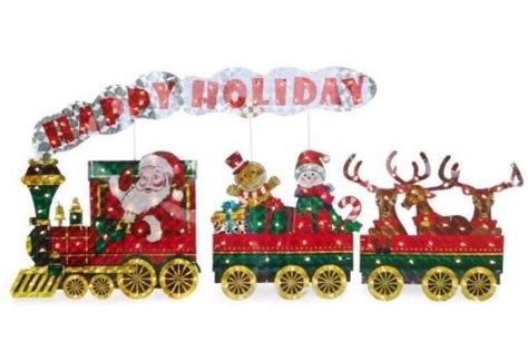 christmas outdoor halogrphic train decoration light up holographic santa 3 set outdoor decor green ankles gardening