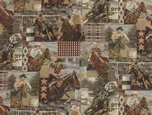 Equestrian Upholstery Fabric Cowboys And Horses Fabric Western Rodeo