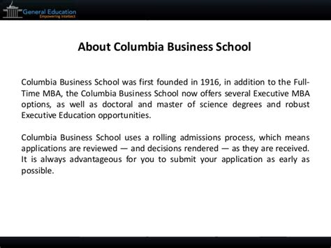 Columbia Mba Application Tips by Columbia Mba Sle Essay Tips And Deadlines