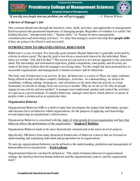 Organizational Behavior Mba Notes Pdf by Mba 1s Sem Organisational Behaviour Notes