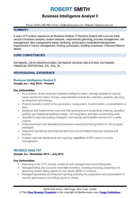 business analyst resume sles pdf business intelligence analyst resume sles qwikresume