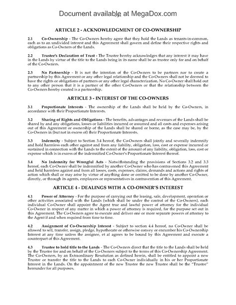 Canada Co Ownership Agreement For Syndicated Mortgage Legal Forms And Business Templates Co Ownership Agreement Template Free