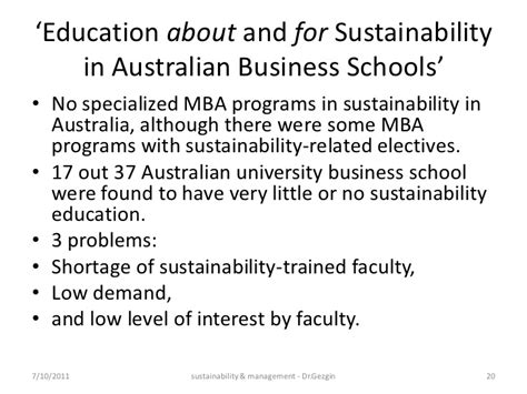 Sustainability Mba Australia sustainability management education india 2011