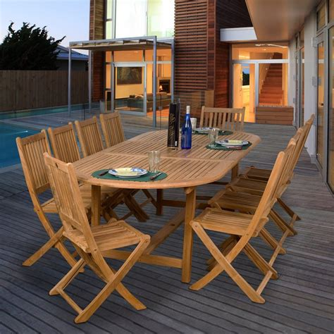 teak patio dining sets shop international home amazonia teak 11 teak patio