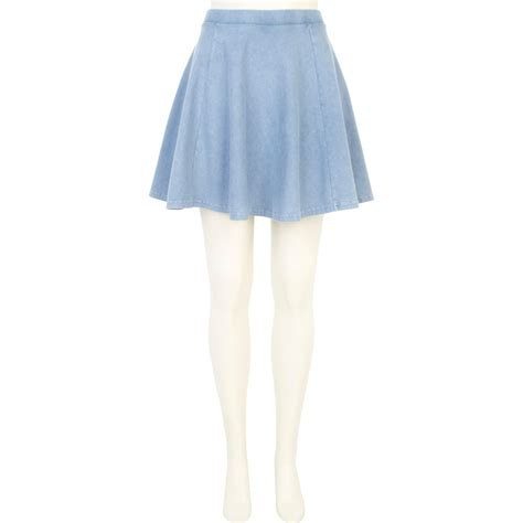 light blue skater skirt river island light blue acid wash skater skirt in blue lyst