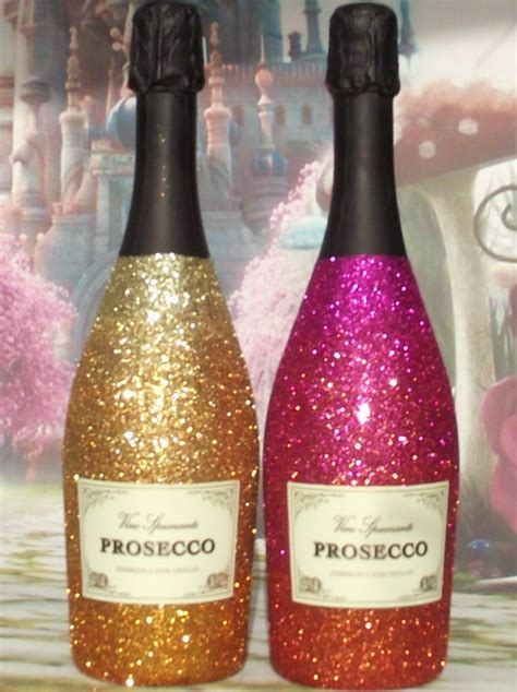 Glitter Vino Spumante Prosecco Bottle handmade in Cornwall UK.