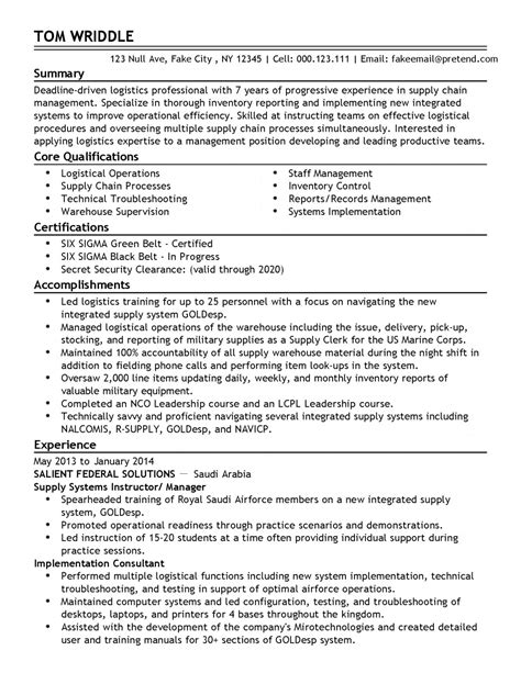Crossing Guard Cover Letter by Unit Supply Specialist Resume Sle Warehouse Supervisor Resume Sle Two Logistics Resume