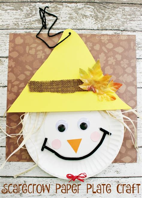 Scarecrow Paper Plate Craft - 12 thanksgiving crafts for