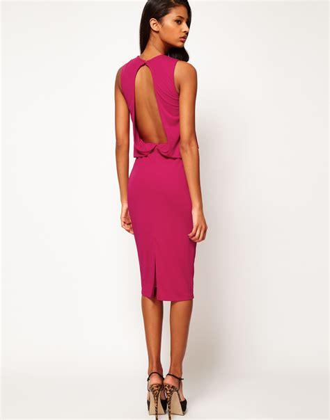draped open back dress asos midi dress with drape top open back in purple